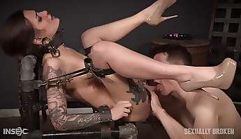 Slave in his dungeon is bound and fucked hardcore
