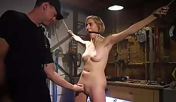 Cadence Lux Gagging on Cock in Bondage