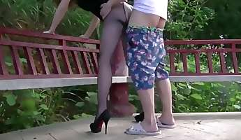 Horny Chinese wife wearing stocking and fucked in public park