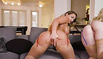 Two amazing babes fucked on the couch by a lucky guy