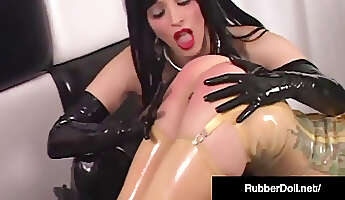 Latex Lover RubberDoll belt dick tears up Rubber Painted dame!