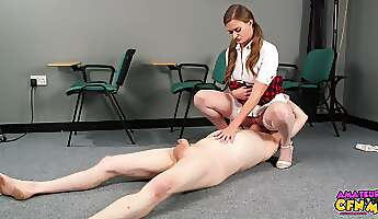 Young schoolgirl needs some extra credit from her perverted professor