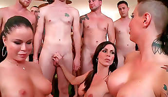 Glamorous chicks Christy Mack and her friends enjoy hardcore group sex